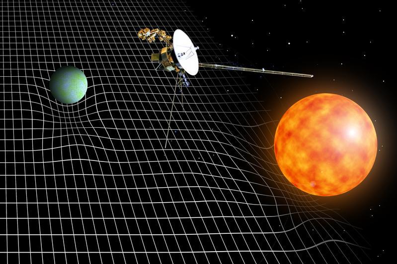 Bild: Massen (etwa Sterne und Planeten) krümmen die Raumzeit. Florian Aigner, TU Wien