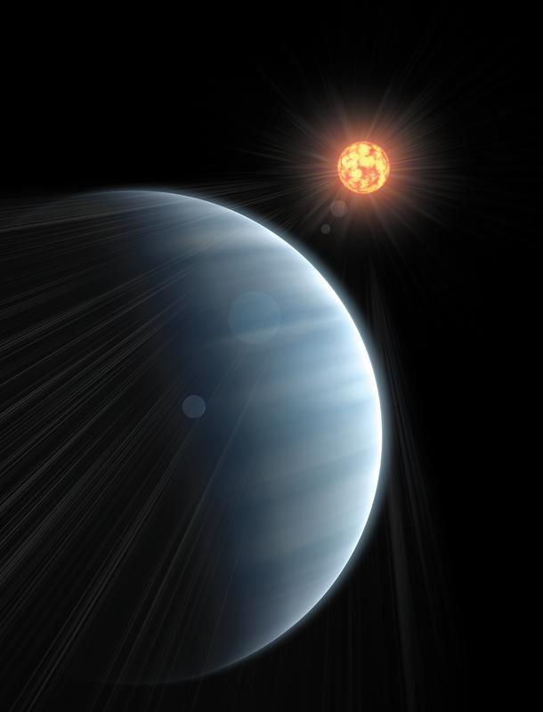 Die Super-Erde GJ 1214b (vorne links) zieht vor ihrem Zentralstern vorbei. Foto: Paul A. Kempton