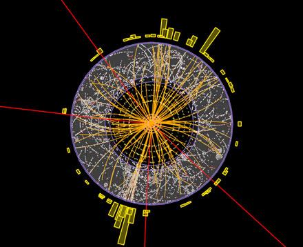 Eine Spur des Higgs-Teilchens: Bei den roten Linien handelt es sich um Myonen, die über eine Kaskade von Zerfällen aus dem Higgs-Boson entstehen können. Da andere Prozesse jedoch eine ähnliche Signatur hinterlassen, müssen Physiker unzählige solcher Ereignisse analysieren, um die Existenz des Higgs-Bosons mit ausreichender Wahrscheinlichkeit zu beweisen. Atlas Cooperation