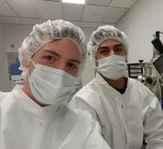 UC Riverside student Edwin Preciado (right) and his University of Augsburg colleague Sebastian Hammer working in the cleanroom