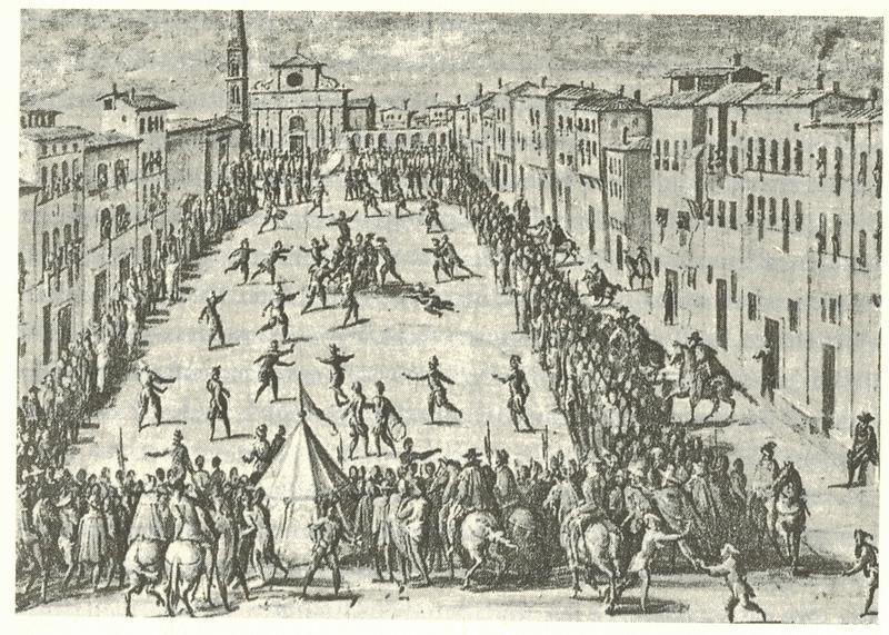 Fresco von Jan van der Straet: Calcio vor Santa Maria Novella, 1558 (Palazzo Vecchio, Florenz)
