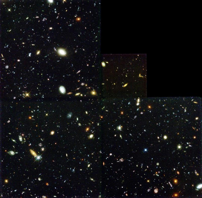 The famous Hubble Deep Field. See also <http://hubblesite.org/newscenter/archive/releases/1996/01/> for images in full resolution