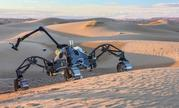"he hybrid walking and driving rover ""SherpaTT"" in the desert of morocco."