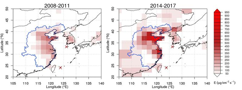 Regional CFC-11 emissions in North-East Asia for the periods 2008-2011 and 2014-2017 as estimated from observations at Gosan and Hateruma (red crosses).