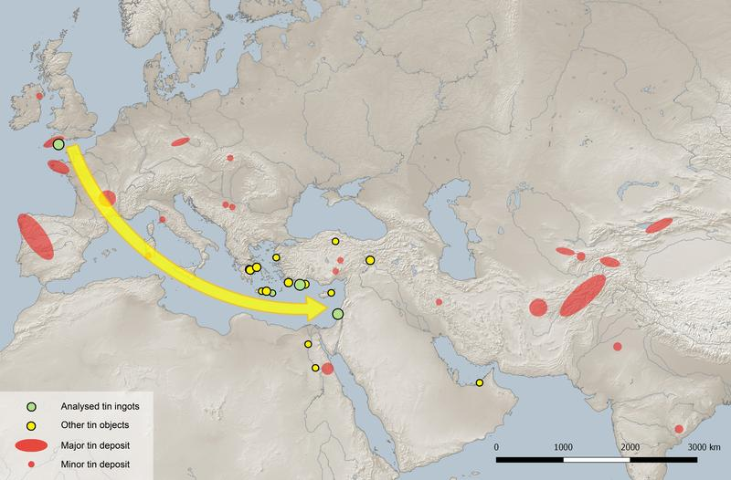 Tin deposits on the Eurasian continent and distribution of tin finds in the area studied dating from 2500–1000 BCE