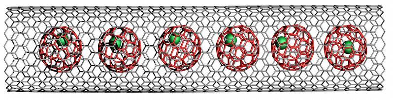 Wie eine Erbsenschote - metallorganische Moleküle eingesperrt in Kohlenstoff-Nanoröhrchen.