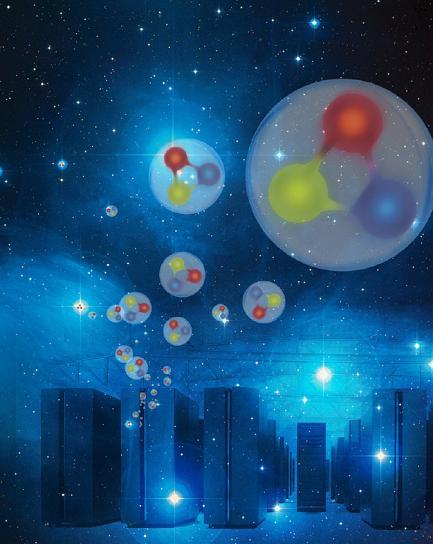 Supercomputer helfen, die Prozesse in Atomkernen und deren Masse zu verstehen. Die Kräfte zwischen drei Quarks im Nukleon, erklären den sichtbaren Anteil der Masse im Universum. Forschungszentrum Jülich / Seitenplan mit Material von NASA, ESA und AURA/Caltech)