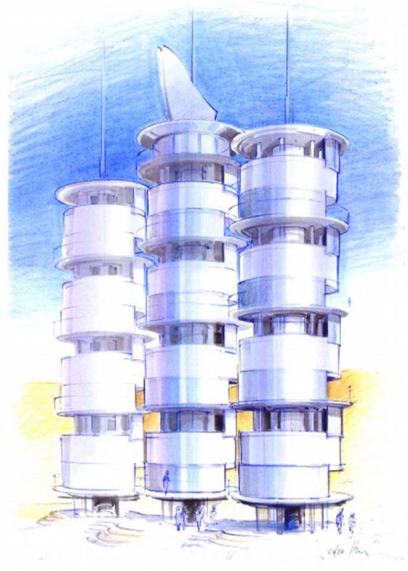 So könnten die Anlagen aussehen, die in großen Mengen Trinkwasser aus der Luftfeuchtigkeit gewinnen.