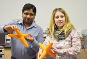 Materials scientists Yogendra Kumar Mishra and doctoral researcher Daria Smazna.