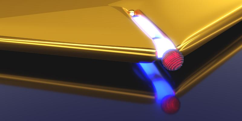 Artistic representation of a plasmonic nano-resonator realized by a narrow slit in a gold layer. Upon approaching the quantum dot (red) to the slit opening the coupling strength increases.