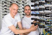 At Saarland University Professor Herfet (left) and Tobias Lange have developed a light field camera system consisting out of 64 cameras.