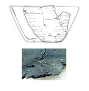 Reconstruction of the 6000 years old pot from Friesack 4 archaeological site (upper panel) and a closeup view of the charred food crust at its bottom (lower panel).