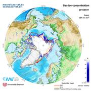 Map of the Arctic sea ice extent on 11 September 2019.