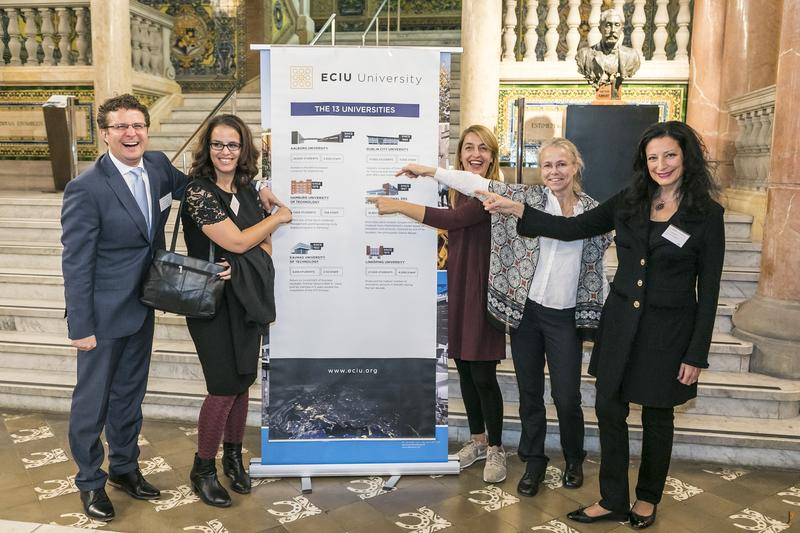 The TUHH-Team at the ECIU event in Barcelona. (From left to right: Christian Ringle, Sabrina Fuhrmann, Nicole Frei, Andrea Brose, Petra Vorsteher.