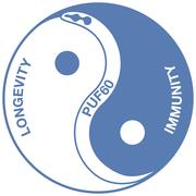Artistic representation of PUF60 mediating a yin-yang like balance between immunity and longevity.