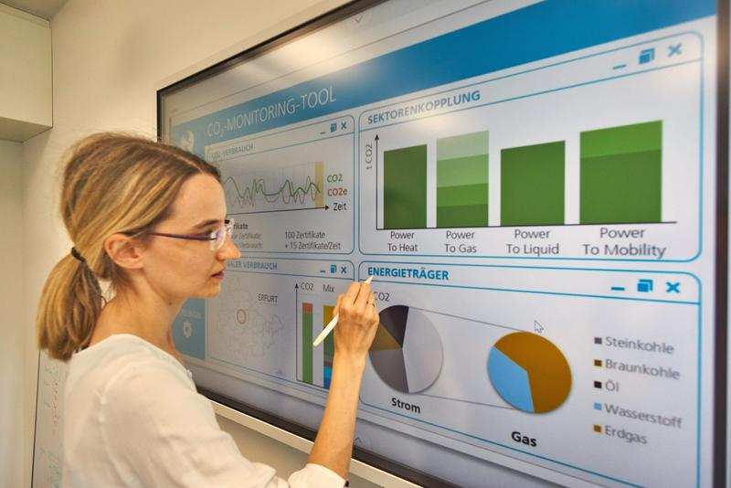 ZO.RRO staff member Juliane Sauerbrey at the CO2 monitoring dashboard developed by Fraunhofer IOSB-AST.