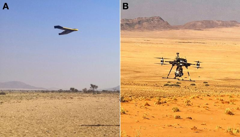 A: Fixed-wing system for the rapid acquisition of photogrammetric data as basis for digital surface models.  B: Multi-rotor system for hyperspectral imaging